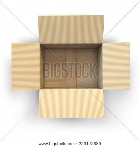 Open empty cardboard box Isolated on white background. 3d illustration