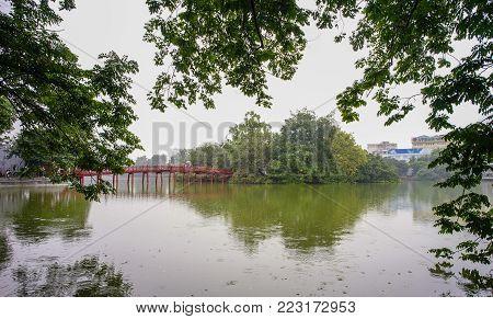 Hanoi, Vietnam - Sep 24, 2016. Hoan Kiem Lake At Rainy Day In Hanoi, Vietnam. From 1010 Until 1802,