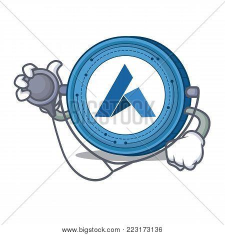 Doctor Ardor coin character cartoon vector illustration