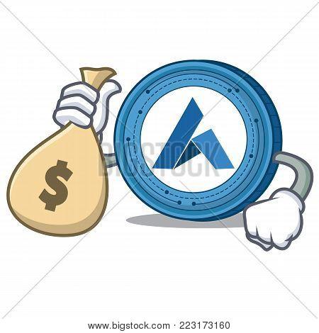 With money bag Ardor coin character cartoon vector illustration