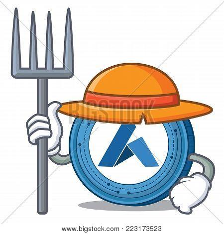 Farmer Ardor coin character cartoon vector illustration