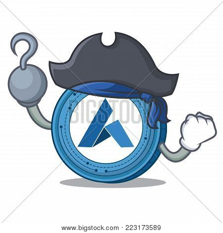 Pirate Ardor coin character cartoon vector illustration