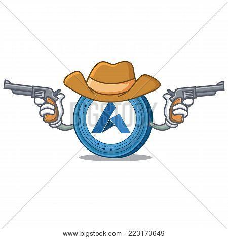 Cowboy Ardor coin character cartoon vector illustration