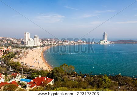 View of bathing beach N1 from the hill of Xiao Yu Shan Park in spring, Qingdao, Shandong province, China