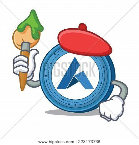 Artist Ardor coin character cartoon vector illustration
