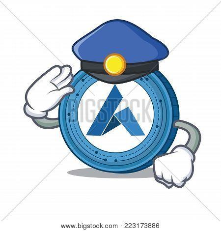 Police Ardor coin character cartoon vector illustration