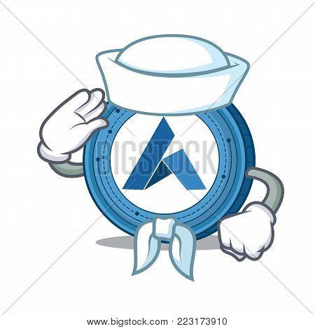 Sailor Ardor coin character cartoon vector illustration