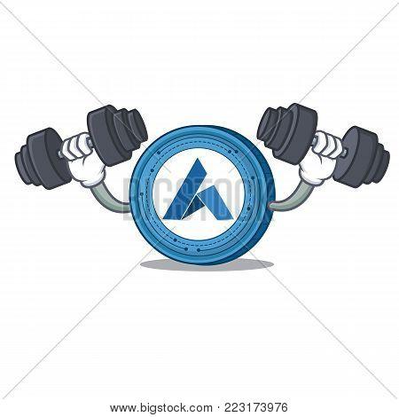 Fitness Ardor coin character cartoon vector illustration