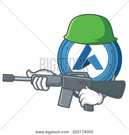Army Ardor coin character cartoon vector illustration