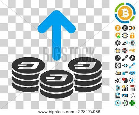 Spend Dash Coins pictograph with bonus bitcoin mining and blockchain pictographs. Vector illustration style is flat iconic symbols. Designed for crypto currency apps.