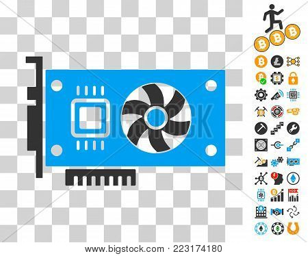 Video Accelerator Card icon with bonus bitcoin mining and blockchain pictures. Vector illustration style is flat iconic symbols. Designed for crypto-currency websites.