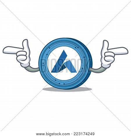 Pointing hand Ardor coin character cartoon vector illustration