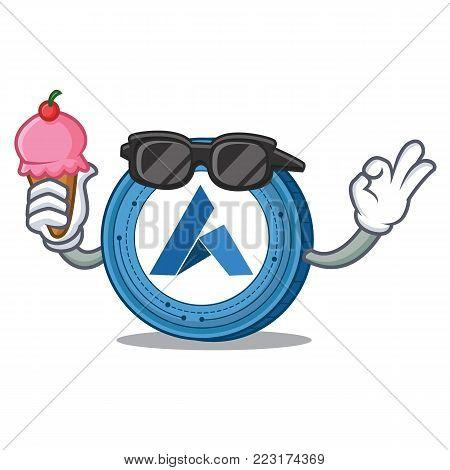 With ice cream Ardor coin character cartoon vector illustration