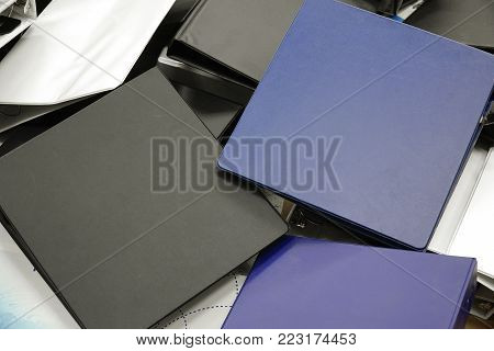 document folders mess around in office as background
