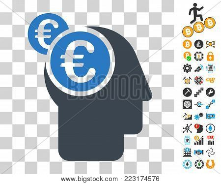 Euro Businessman Intellect icon with bonus bitcoin mining and blockchain symbols. Vector illustration style is flat iconic symbols. Designed for crypto-currency websites.