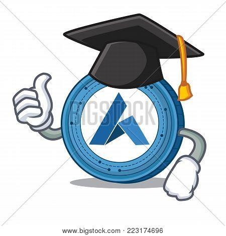 Graduation Ardor coin character cartoon vector illustration