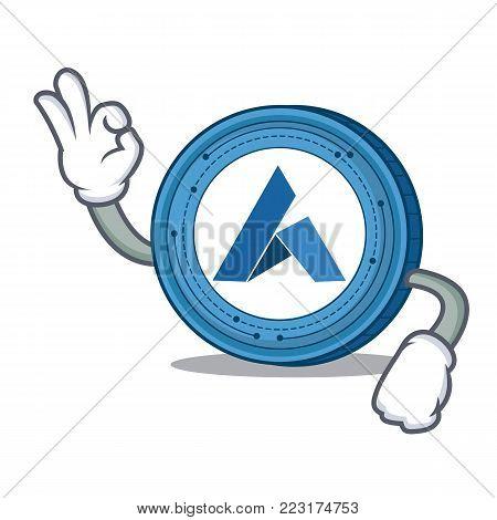 Okay Ardor coin character cartoon vector illustration