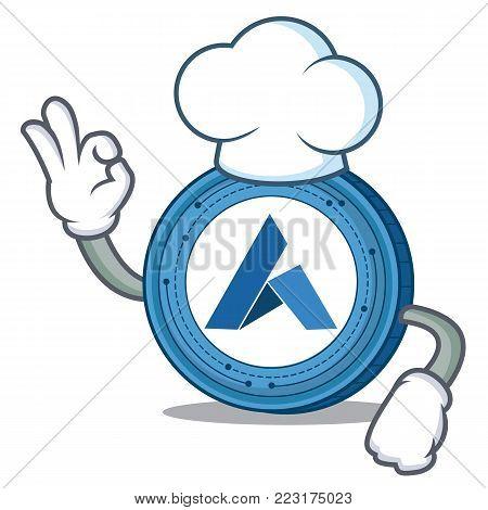 Chef Ardor coin character cartoon vector illustration