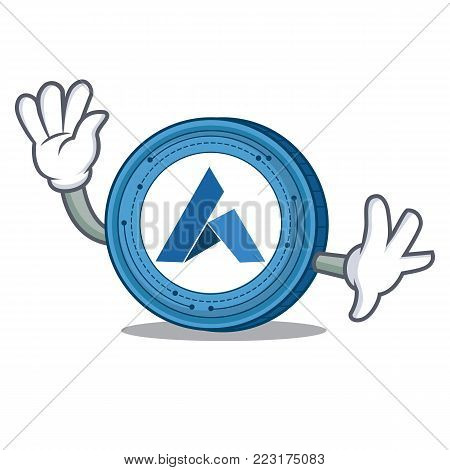 Waving Ardor coin character cartoon vector illustration