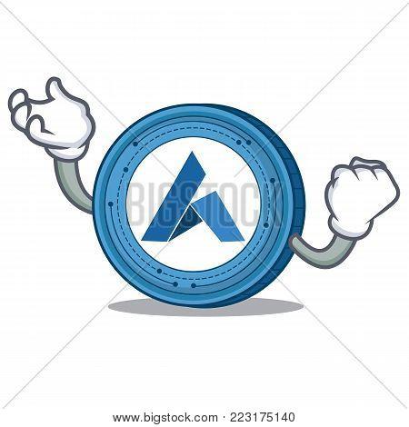 Successful Ardor coin character cartoon vector illustration