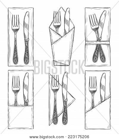 Cutlery on napkins sketch. Fork, knife and spoon on napkin set drawing, dinner table etiquette vector illustration