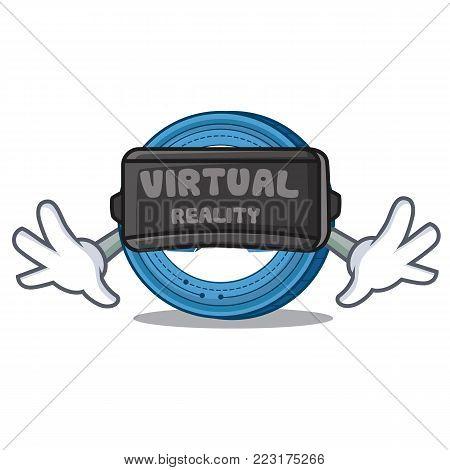 With virtual reality Ardor coin mascot cartoon vector illustration
