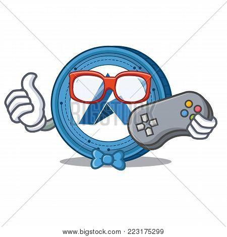 Gamer Ardor coin mascot cartoon vector illustration