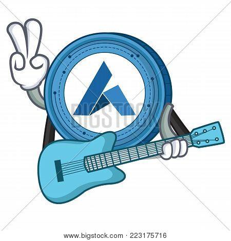 With guitar Ardor coin mascot cartoon vector illustration