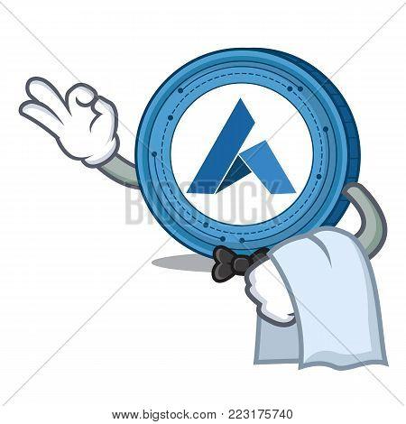 Waiter Ardor coin mascot cartoon vector illustration