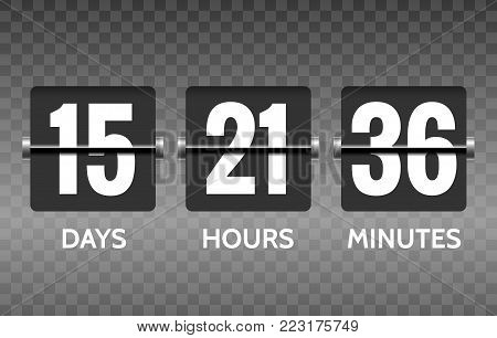Flip countdown. Vector round count down timer numbers isolated on transparent background, counter display flip panel vector illustration