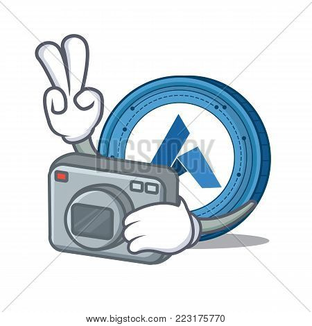 Photographer Ardor coin mascot cartoon vector illustration