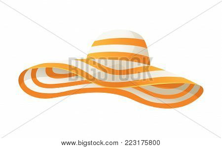 Beach sun protaction hat. Female beach hat, isolated vector illustration.