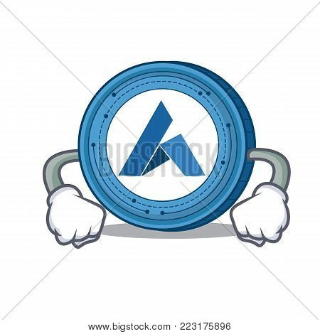 Angry Ardor coin mascot cartoon vector illustration
