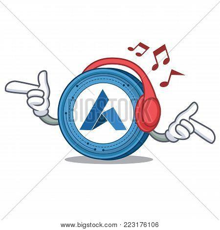 Listening music Ardor coin mascot cartoon vector illustration