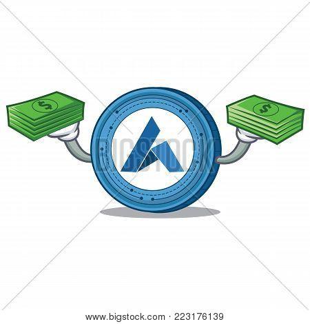 With money Ardor coin mascot cartoon vector illustration