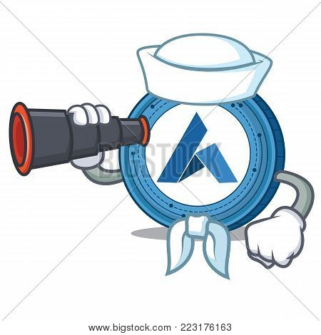 Sailor with binocular Ardor coin mascot cartoon vector illustration