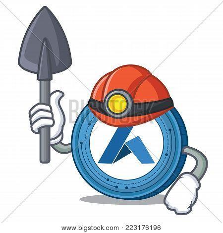 Miner Ardor coin mascot cartoon vector illustration