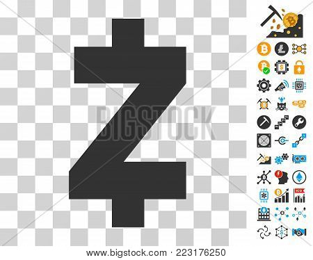 Zcash Icon With Bonus Bitcoin Mining And Blockchain Pictographs Vector Illustration Style Is Flat Iconic