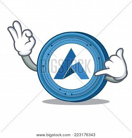 Call me Ardor coin mascot cartoon vector illustration