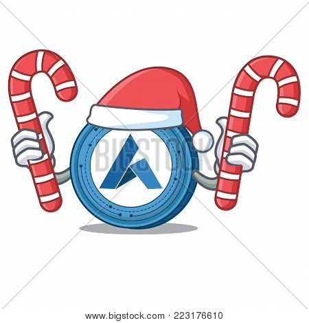 Santa with candy Ardor coin mascot cartoon vector illustration
