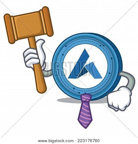 Judge Ardor coin mascot cartoon vector illustration