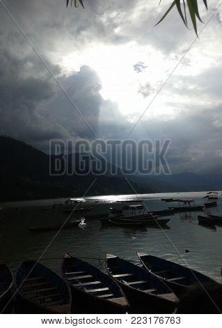 Phewa Lake and the stillness of the boats