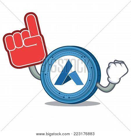 Foam finger Ardor coin mascot cartoon vector illustration