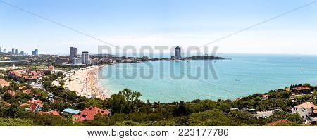 View of bathing beach N1 from the hill of Xiao Yu Shan Park in summer, Qingdao, Shandong province, China