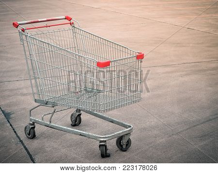 Shopping cart in parking areas, shopping malls. Space for place your text.
