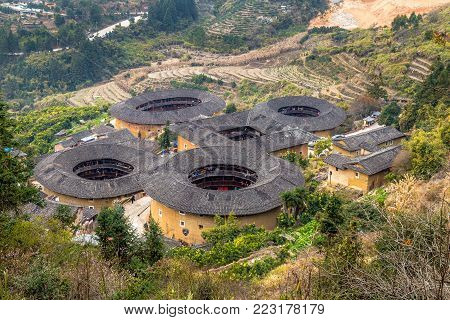 TianlouKeng cluster - Fujian province, China. The tulou are ancient earth dwellings of the Hakka people