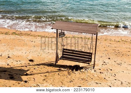 Just Married bench on Qingdao beach in Taiping bay, used for wedding pictures. Qingdao, Shandong province, China