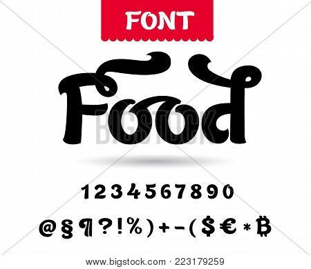 Set of vector letters for etiquette and packing of food and all enjoyable things.