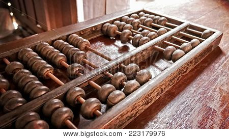 Perspective Vintage Old Wooden Abacus for Counting and Calculation