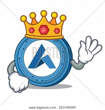 King Ardor coin mascot cartoon vector illustration